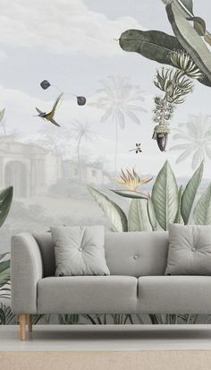 Install this stunning Botanical Beauty wallpaper in your home. Custom-made to fit any wall to perfection. Palm Leaf Wallpaper, Tropical Wallpaper, Purple Wallpaper, Wall Wallpaper, Kids Living Rooms, Living Room Sets, Rugs In Living Room, Room Rugs, Living Room Accents