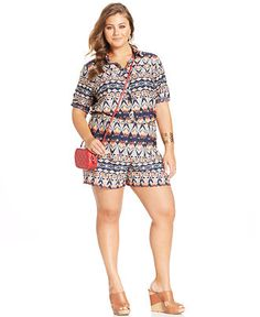 Stevie and Lindsay Plus Size Shirtwaist Printed Romper - Shorts - Plus Sizes - Macy's