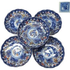 Antique Japanese Imari Porcelain Set of Five Plates of Some-nishiki 錦 in Kirin, Karako and Chrysanthemums from The Many Faces of Japan on Ruby Lane
