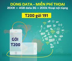 Gói cước T200của Viettel dùng Data miễn phí gọi thoại có ưu đãi vô cùng hấp dẫn, đăng ký T200 Viettel đượctặng 200 phút nội mạng,cộng4GB Data tốc độ cao