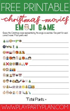 Free Printable Christmas Emoji Game - - Think you know your Christmas movies? Test your movie knowledge with this fun printable Christmas emoji game! A fun Christmas game for all ages! Christmas Games For Family, Xmas Games, Printable Christmas Games, Holiday Games, Christmas Office Games, Christmas Trivia Games, Christmas Dinner Party Games, Company Christmas Party Ideas, Christmas Party Ideas For Teens