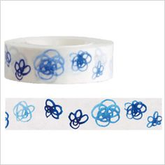 Blue Masking Tape Blue Flowers Squiggly by japanese2please, $5.75
