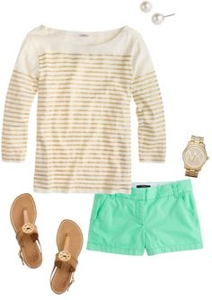 Gold jcrew striped tee, turquoise shorts, Tory burch sandals, Michael kors watch