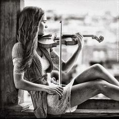 Violin senior picture pose. by SoccerSheldon