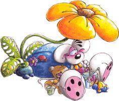 pimboli en diddl zittend onder een bloem