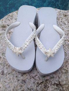 Wedding Flip Flops/Wedges/Sandals for Bride/Bridesmaids.White Bridal Flip Flops.Flip Flops with PEARLS.Starfish. Beach Weddings. - http://www.shoeuser.com/wedding-flip-flopswedgessandals-for-bridebridesmaids-white-bridal-flip-flops-flip-flops-with-pearls-starfish-beach-weddings.html