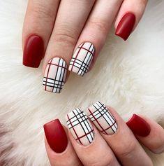 Plaid Nail Designs, Square Nail Designs, Fall Nail Art Designs, Cute Nail Designs, Bling Acrylic Nails, Oval Nails, Best Acrylic Nails, Bailarina Nails, Long Square Nails