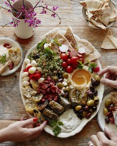 Vegetarian Mezze Platter from www. (What's Gaby Cooking) Vegetarian Mezze Platter fr Comida Picnic, Turkish Recipes, Ethnic Recipes, Whats Gaby Cooking, Vegan Recipes, Cooking Recipes, Vegan Meals, Meze Recipes, Diet Recipes