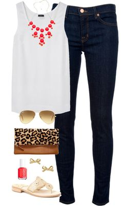 Pink Bubbles by classically-preppy featuring a ray ban aviator ❤ liked on PolyvoreJoseph top / J Brand mid rise skinny jeans, $280 / Jack Rogers sandals / Gap leopard clutch / Blu Bijoux necklace / Kate Spade bow earrings / Ray-Ban ray ban aviator / Essie formaldehyde free nail polish