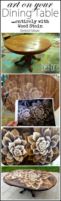 Make your old wooden dining table a custom piece of ART with this staining technique... IT'S EASIER THAN IT LOOKS! {Sawdust and Embryos}