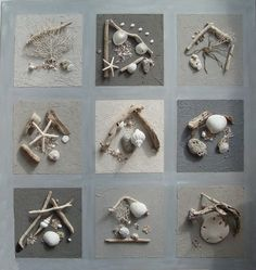 Tableau composition marine Nature 100 cm cendre - Coc'art Créations