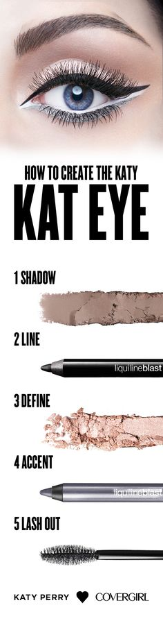 Step 1: Apply shade #3 from Notice Me Nudes Eye Shadow Quad all over eyelid Step 2: Line the top of the eye with Liquiline Blast Liner in Black Fire Step 3: Line the inside of eye with shade #1 from Notice Me Nudes. Follow the line beneath the waterline Step 4: Use Liquiline Blast Eyeliner in Silver Spark and apply just beneath the white shadow Step 5: Apply Katy Kat Mascara in Very Black to upper and lower lashes. Use multiple coats for added volume