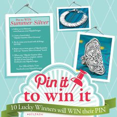 "Enter our ""Summer Silver Giveaway"" to be one of 10 lucky pinners to win Silpada jewelry! #SummerSilver #SilpadaStyle"