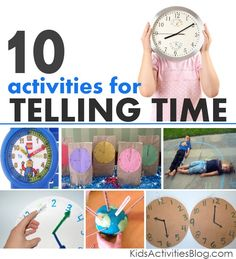 Clock Activities for kids - Here are 10 really fun, hands on kids activities for… Educational Activities, Learning Activities, Activities For Kids, Teaching Time, Teaching Math, Math For Kids, Fun Math, Math Games, Maths
