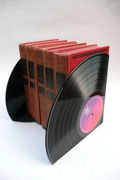 Eco friendly Recycled Record Bookends for the by WhenTheMusicsOver,
