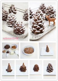 Malzemeler 1 tane kakaolu pasta tabanı 1 çay bardağı krema 160 gr bitter çi… Ingredients 1 cocoa cake base 1 teacup cream 160 g dark chocolate 1 bowl cornflakes 1 cup powdered sugar 1 teacup hazelnut pastes . How to make biscuits in the form of cones . Noel Christmas, Christmas Goodies, Christmas Desserts, Holiday Treats, Christmas Treats, Christmas Baking, Holiday Recipes, Christmas Decorations, Christmas Cakes