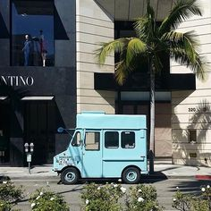 The coolest little ice cream truck parked up in the heart of Rodeo Drive in Beverly Hills.  Pic by @HollywoodCars