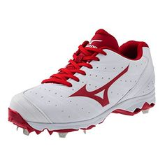 Mizuno Women's 9-Spike Advanced Sweep 2 Fastpitch Softball Metal Cleat - White and Red (9) ** Check out the image by visiting the link.