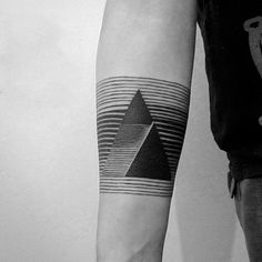 Mens Line Tattoo With Black Triangles On Arm