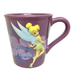 Disney Tinker Bell Tinkerbell Large Mug Coffee Tea Cup Purple. Disney Tinker Bell Tinkerbell Large Ceramic Mug Coffee Tea Cup Purple Measures 4.5 inches tall x 4 inches diameter at rim Microwave and Dishwasher safe Excellent condition