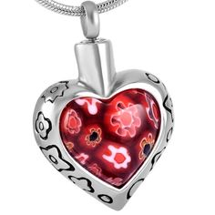 Red Flowers Heart Urn Necklace for Ashes - Cremation Memorial Keepsake Pendant