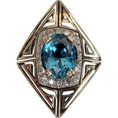 """ERTE """"MAGIQUE"""" 14k gold Blue Topaz Ring State 11 - CFA Erte Ring Box"""