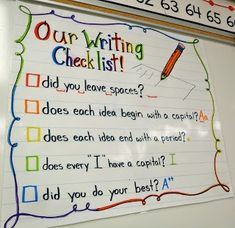 Great first grade checklist/anchor chart to remind students what they need in their writing