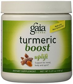 Concentrated Turmeric extract with measured amounts of Curcumas is combined with Lemon Balm and Gotu Kola to support a centered and peaceful feeling. With no added sugar or flavorings, Turmeric Boost Uplift delivers real Vanilla Chai spices in a prebiotic blend to feed the intestinal flora that... more details at http://supplements.occupationalhealthandsafetyprofessionals.com/herbal-supplements/turmeric/product-review-for-gaia-herbs-turmeric-boost-uplift-supplement-5-29-ounce