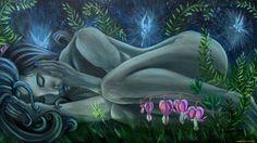 фэнтези, девушки, фантастика, живопись, девушка, природа, цветы, лицо, синие, волосы, феи