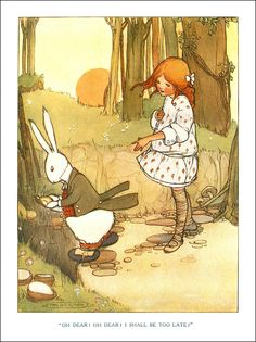 "An Illustration by Mabel Lucie Attwell for an edition of Lewis Carroll's ""Alice in Wonderland"" published by Raphael Tuck & Sons Ltd"