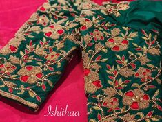 Floral bridal blouse from Ishithaa design house ! Ping on 9884179863 to book an appointment. Cutwork Blouse Designs, Kids Blouse Designs, Wedding Saree Blouse Designs, Half Saree Designs, Pattu Saree Blouse Designs, Stylish Blouse Design, Sleeve Designs, Zardosi Work, Book