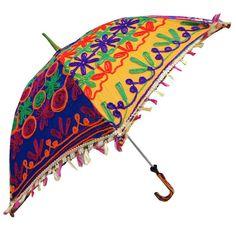 Decorative Fringed Sun Umbrella Handmade Embroidered Blue Parasol Woman Summer Gift - UMB129
