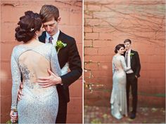 Are you on the fence about wearing a traditional wedding gown? If you are, our next feature might held make up your mind. Crystal decided not to wear white, and slipped on a sparkly sequin dress with a long silhouette and a sultry back this bride . Sequin Wedding, Chic Wedding, Wedding Gowns, Dream Wedding, Glitter Wedding, Wedding 2015, Wedding Vintage, Wedding Themes, Wedding Bride
