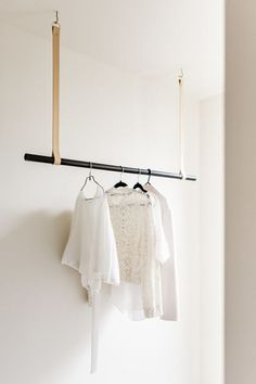 Leather Hanging Rail by H&G Designs- Nude Leather, Suede leather Hanging Rail. Modern Clothes Hanger hanger Leather Hanging Rail by H&G Designs- Nude Leather, Suede leather Hanging Rail Modern Clothes Hangers, Hanging Clothes Racks, Hanging Racks, Diy Clothes Rail, Walk In Robe Designs, Closet Designs, Garderobe Design, Laundry Hanger, Laundry Hanging Rack