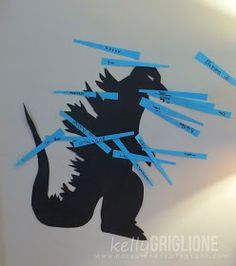 Pin the fire on Godzilla Godzilla Party, Godzilla Birthday Party, Monster Birthday Parties, Birthday Party Games, Birthday Ideas, Monster Party, King Kong Vs Godzilla, Godzilla Vs, Happy Belated Birthday
