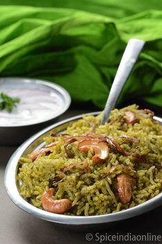 palak biryani Veg Recipes, Easy Chicken Recipes, Vegetarian Recipes, Cooking Recipes, Healthy Recipes, Healthy Soup, Curry Recipes, How To Make Spinach, Tandoori Masala