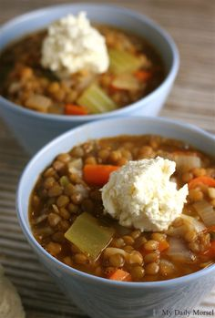 Lentil Vegetable Soup with Whipped Feta [My Daily Morsel] // vegetarian if you use veggie broth!
