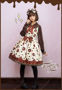 Sweet Cotten Chocolate Cake Prints Pumpkin Cat Lolita JSK Dress
