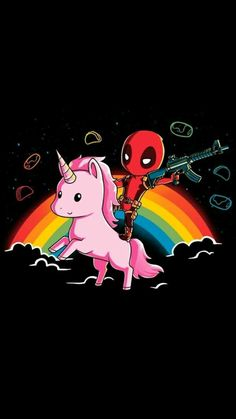 Check out this awesome collection of Fresh Deadpool Riding Unicorn Iphone is the top choice wallpaper images for your desktop, smartphone, or tablet. Deadpool Und Spiderman, Cute Deadpool, Deadpool Art, Deadpool Quotes, Deadpool Tattoo, Deadpool Costume, Deadpool Movie, Logo Deadpool, Deadpool Kawaii