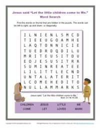 Jesus Said Let The Children Come To Me - Word Search Activity for Kids