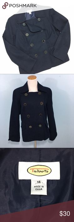 """Talbots Navy Jacket Rich """"waffle"""" knit material in perfect condition with navy and gold buttons. Runs true to size, Bust 20"""", Waist 18"""" (laid flat), Length 24"""", shown on a 6-8 dress form. Talbots Jackets & Coats"""