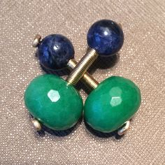 14k Gold Filled Green Quartz and round Sodalite by jonahadam