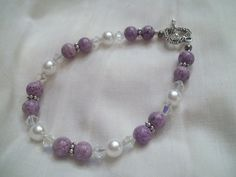 Beautiful Purple and White Pearl Bracelet by TheBlueEyedBeader, $15.00