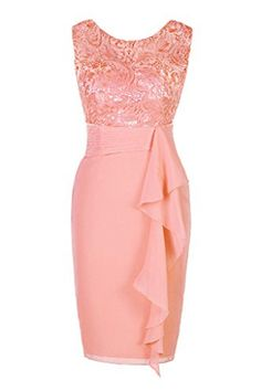 Ellames Women's Short Lace Bridesmaid Dress Mother of the Bride Dresses Peach US 10 - Brought to you by Avarsha.com