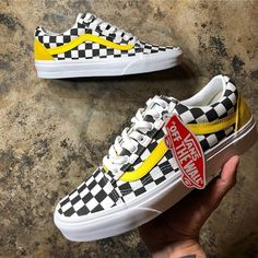 New Vans Old Skool classic black and white yellow checkerboard ... f7f5be28b