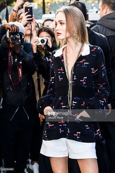 Lily-Rose Depp is seen arriving at Chanel Fashion show during Paris Fashion Week Spring/Summer 2017 on October 4, 2016 in Paris, France.