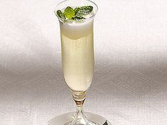 Sgroppino cocktail; Prosecco, vodka, lemon sorbet and mint