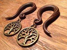 4 or 2 gauge (5/6mm) Simulated wood Tree of Life GAUGED EARRINGS with brass charms--or special-order a dangle of your choice