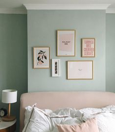 After months of a dusty pile of frames next to our bed, this weekend we finally got them up on the wall (thanks grandad!) and I couldn't be… Light Green Bedrooms, Green Bedroom Walls, Bedroom Wall Colors, Bedroom Color Schemes, Green Rooms, Home Decor Bedroom, Green Bedroom Decor, Farrow And Ball Bedroom, Farrow And Ball Paint