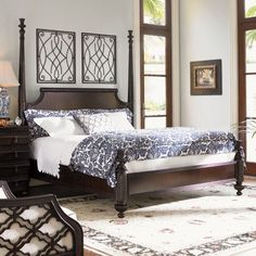 """Features: -Removable canopy frame. -Posts break for low post option. -Constructed of mahogany veneers and select hardwoods. -Distressed in coffee finish. -Bed Height: 59.25"""". Distressed: -Yes."""
